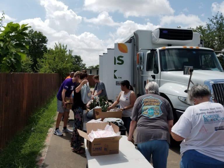 Food truck and volunteers